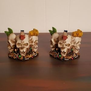 Pair of Resin 3-Sided Skull Candle Holders
